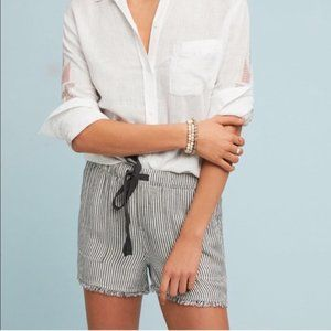 Anthro Cloth & Stone Striped Frayed Hem Shorts